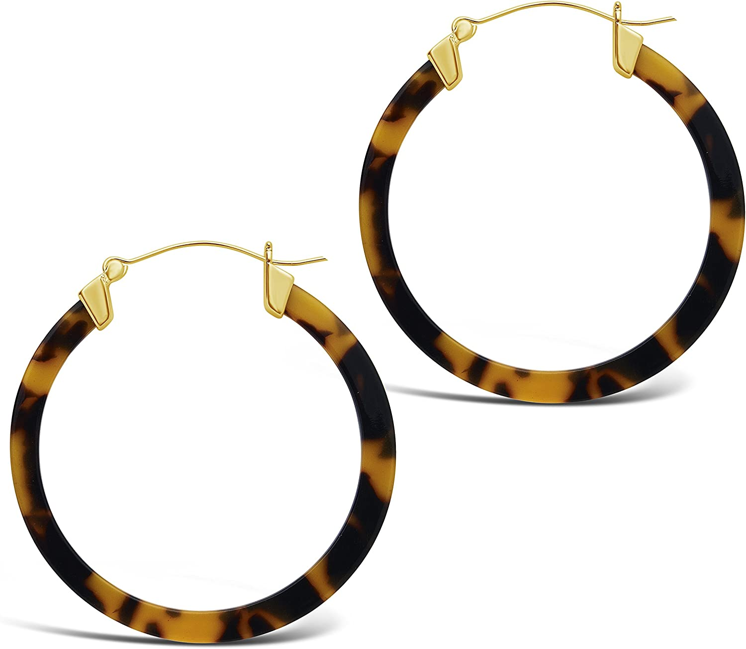 Sterling Forever - 50mm Resin Hoop Earrings – Pair of Large Thin Hoops with Gold Plated Hinged Clasp – Modern Fashion Jewelry - Multiple Colors & Styles Available