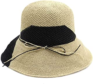 SHENTIANWEI 100% Raffia StrawWomen Handmade Bow Bucket Hat Caps Special Crochet Sunscreen Visor Two Color Stitching Collapsible Lady Straw Sun Hat