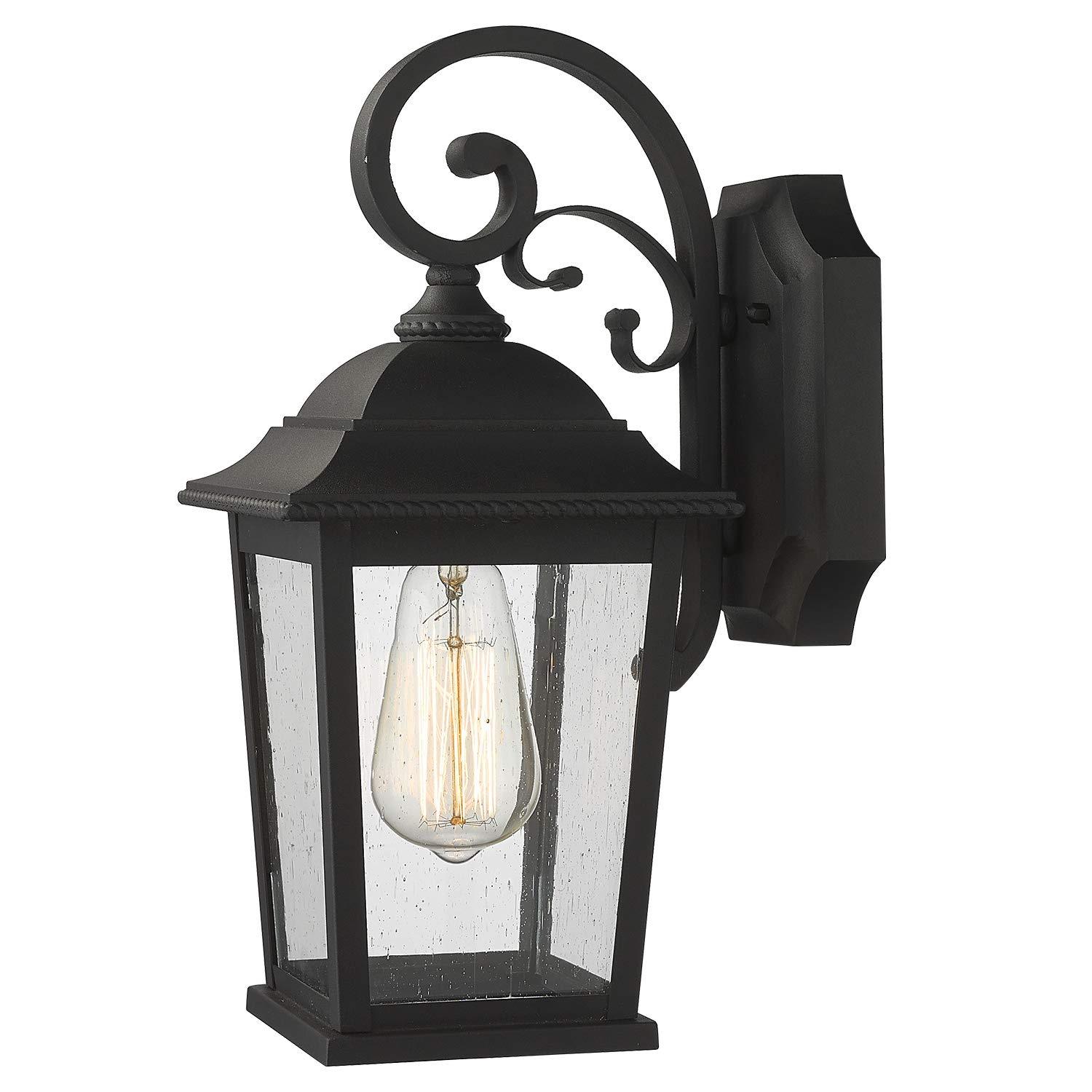 Emliviar Outdoor Wall Lantern Sconce 15 Inch Exterior Wall Lights Modern Design Black Finish With Seeded Glass De19105b1 Bk Amazon Com