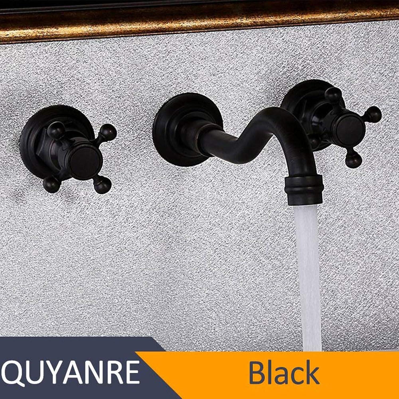 Black Antique Brass Sink Faucet, Long Nozzle Double Handle 3-Hole Mixing Faucet, Wall-Mounted Bathroom Sink Faucet,Black