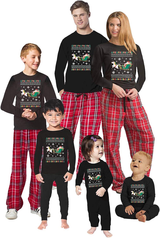 Awkward Styles Christmas Pajamas for Family Xmas Santa with Unicorn Matching Christmas Sleepwear