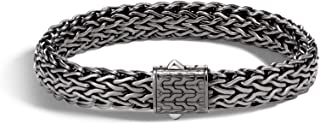 John Hardy Men's Classic Chain Silver 11mm Flat Chain Bracelet with Matte Black Rhodium Plating