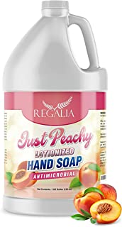 Hand Soap-Antimicrobial Just Peachy Luxurious Lotionized Hand Wash One Gallon (128 Oz.) Refill Jug. Made in The USA