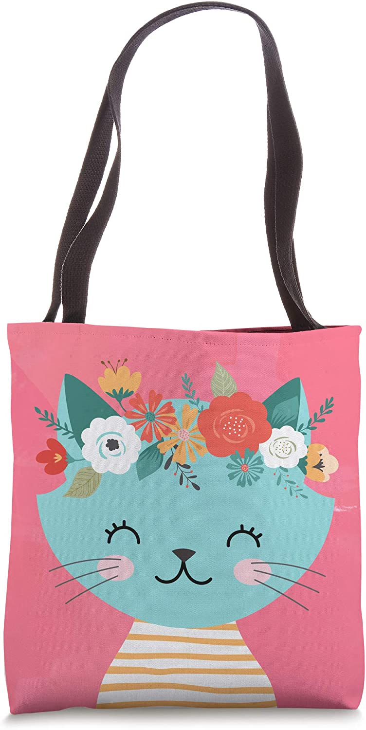 Cat in Teal with Flowers on Coral AES178 Tote Bag
