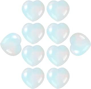 always88 10Pcs Natural Polished Love Heart Shaped Healing Palm Opal Quartz Crystal Stone Shiny Reiki Specimens Gemstone Decoration 0.99X0.99X0.47inch (10Pcs Opal)