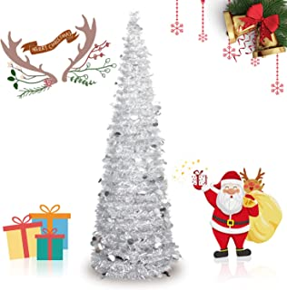 INCX 5ft Pop Up Christmas Tinsel Tree Xmas,Collapsible Christmas Tree with Stand for Indoor and Outdoor Holiday Home Display,Silver