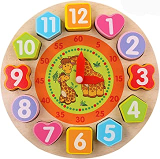Education Wooden Shape Color Sorting Clock - Teaching Time Number Blocks Puzzle Stacking Sorter Jigsaw Montessori Early Learning Educational Toy for 1 2 3 Year Old Toddler Baby Toys Kids Toy