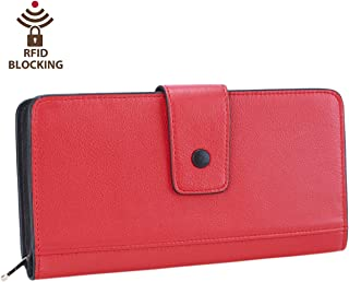 Itslife Womens RFID Blocking Leather Wallet Card Holder with Zipper Pocket