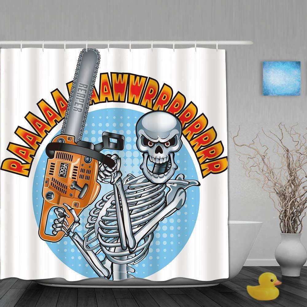 N\A Cortina de Ducha, Esqueleto Humano Sonriente sosteniendo una Motosierra, Juego de decoración de baño de Tela con Ganchos de plástico