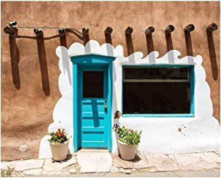 Paint By Numbers Santa Fe Blue Door on Stucco Wall Digital Coloring Oil Painting Canvas With Inner Frame Hand-Painted Pain...