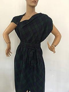Black watch tartan checked dress,Womens casual dress,Asymmetrical Tartan dress pinafore/oversized dress/plaid dress