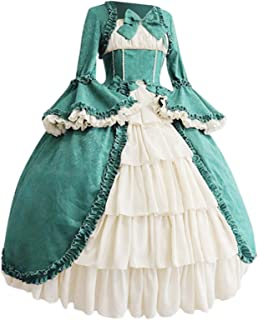 Womens Gothic Vintage Dress Plus Size Long Sleeve Bow Tie Front Party Dresses with Ruffle Hem