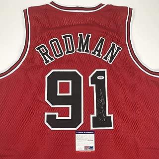 Autographed/Signed Dennis Rodman Chicago Red Basketball Jersey PSA/DNA COA