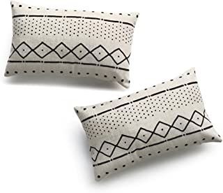 Hofdeco Decorative Lumbar Pillow Cover HEAVY WEIGHT Cotton Linen African Mud Cloth Ethnic Natural Dots and Line 12