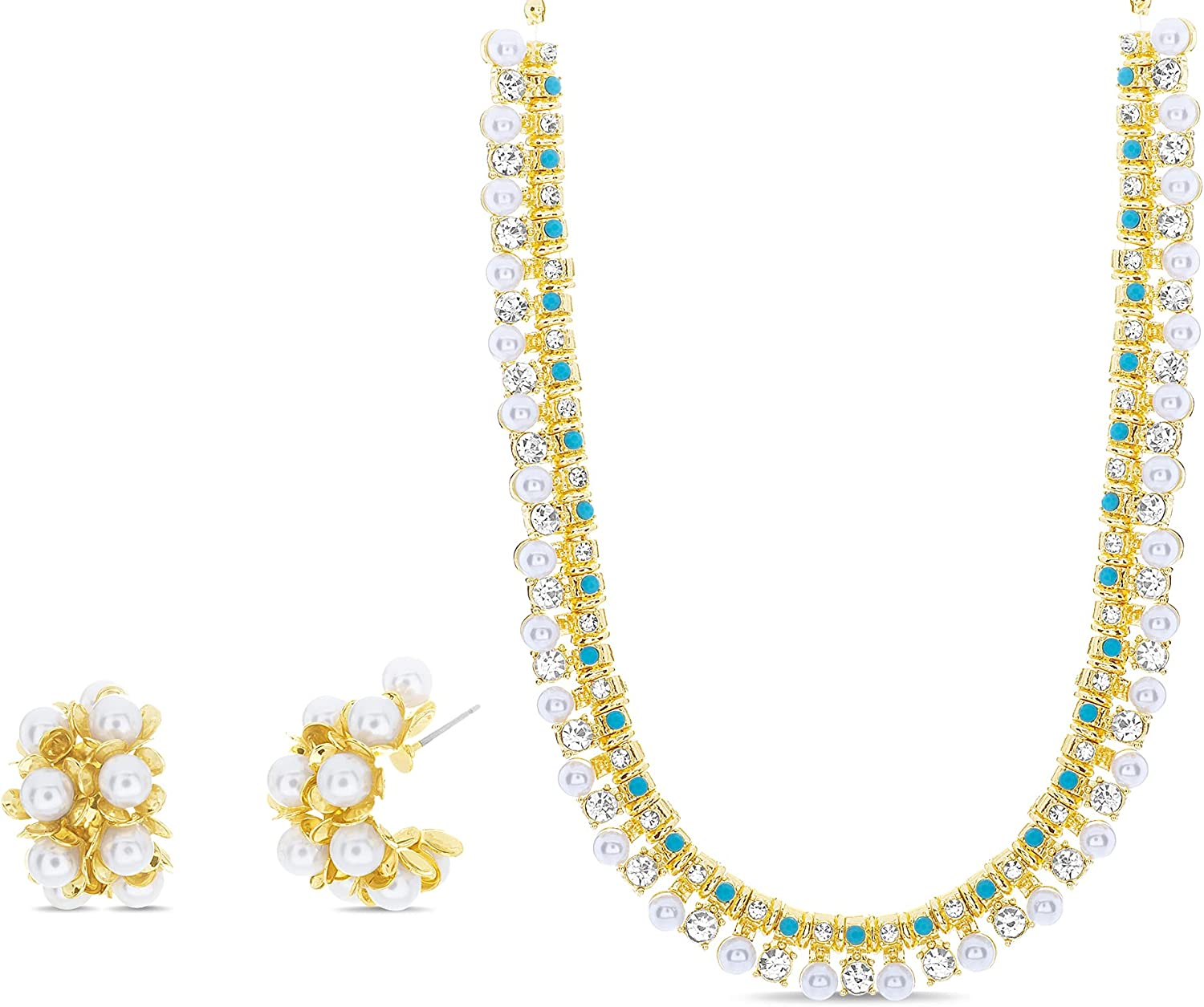 Badgley Mischka Simulated Pearl and Turquoise Rhinestone Bridal Necklace and Hoop Statement Earrings for Women Yellow Two Piece Set Adjustable 16 - 18.5 Inches