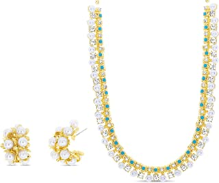 Badgley Mischka Simulated Pearl and Turquoise Rhinestone Bridal Necklace and Hoop Statement Earrings for Women Yellow Two ...