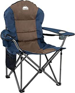 Coastrail Outdoor Camping Chair with Lumbar Back Support, Oversized Padded Lawn Chair Folding Quad Arm Chair with Cooler B...