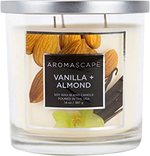 Aromascape 3-Wick Scented Jar Candle, Vanilla & Almond