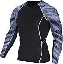 zoulouyou Herren Kompressions Shirt Langarm Funktionsshirts Trainingsanzug Tops Baselayer Fitness Base Layer Basic Bodywear