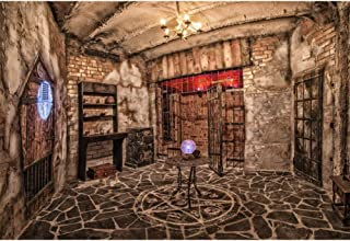 YongFoto 7x5ft Mystery House Backdrop for Photography Horror Interior Old Wooden Room Background Chandelier Lamp Crystal Ball Gothic Interior Decor Adult Kids Portrait Photo Booth Studio Props