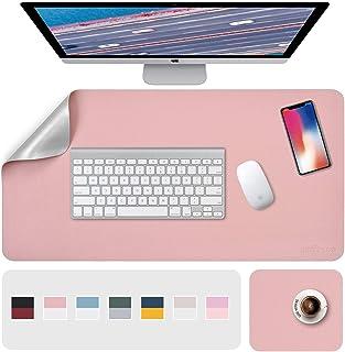 "Desk Pad, Desk Mat, Mouse Mat, XL Desk Pads Dual-Sided Pink/Sliver, 31.5"" x 15.7"" + 8""x11"" PU Leather Mouse Pad2 Pack Wat..."
