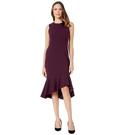 Calvin Klein Ruffle Hem Midi Dress (Aubergine) Women