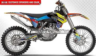 Kungfu Graphics Custom Decal Kit for 125 150 250 350 450 SX SXF SX-F XCF XC-F 2013 2014, Black White Blue Yellow