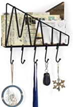 SRIWATANA Mail Letter Holder Wall Mount, Rustic Wood Mail Organizer with 5 Key Hooks for Wall Decor
