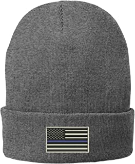 Trendy Apparel Shop US American Flag Thin Blue Line Embroidered Winter Folded Long Beanie
