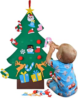 COOFIT Felt Christmas Tree, DIY Felt Christmas Tree with 26pcs Ornaments Xmas Gifts for Kids New Year Handmade Christmas Hanging Decorations Artificial Christmas Tree