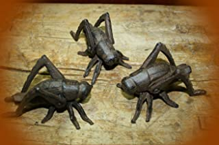 3 Garden Bugs Grasshopper Flower Insects Plants Statue Cricket Bug Vintage Cast Iron Supplies for Home Decor by CharmingSS (with NO Screws)