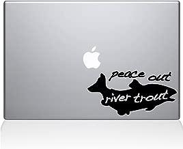 """The Decal Guru Peace Out River Trout MacBook Decal Vinyl Sticker  - 12"""" Macbook - Black (1146-MAC-12M-BLA)"""
