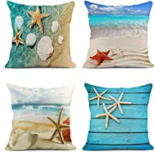 ArtSocket Set of 4 Throw Pillow Covers Starfish and Seashell Summer Beach in Sea Water..