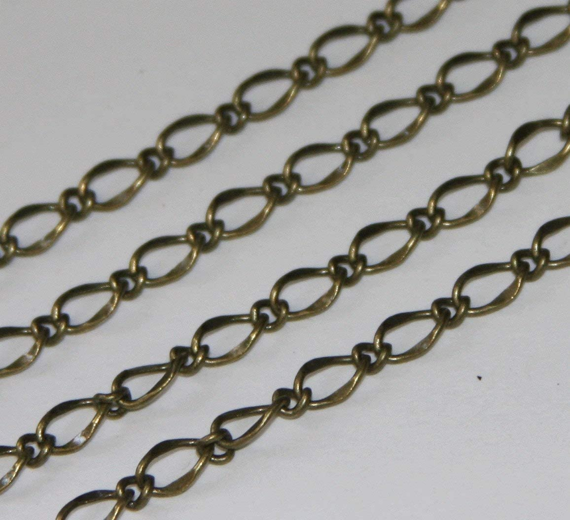 10 ft Ranking integrated 1st place of Antiqued Brass Hammered 5X8mm Link Chain latest soldered Links