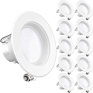 Sunco Lighting 10 Pack 4 Inch LED Recessed Downlight, Baffle Trim, Dimmable, 11W=60W,..