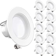 Sunco Lighting 10 Pack 4 Inch Baffle Recessed Retrofit Kit Dimmable LED Light, 11W (40W Replacement), 5000K Kelvin Daylight, Quick/Easy Can Install, 660 Lumen, Wet Rated