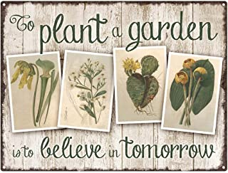 """Outdoor To Plant a Garden 12""""x16"""" Metal Sign, Vintage, Inspirational, Gardening, Guaranteed Not to Fade for 4 Years"""