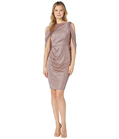Adrianna Papell Draped Cocktail Jersey Dress with Cold Shoulder (Quartz) Women