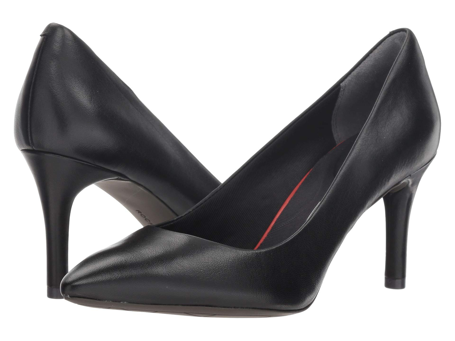 hot sales e8352 6dd88 Smooth Total Pump Toe Pointy Motion Rockport Leather Black 75mm 0BC7g