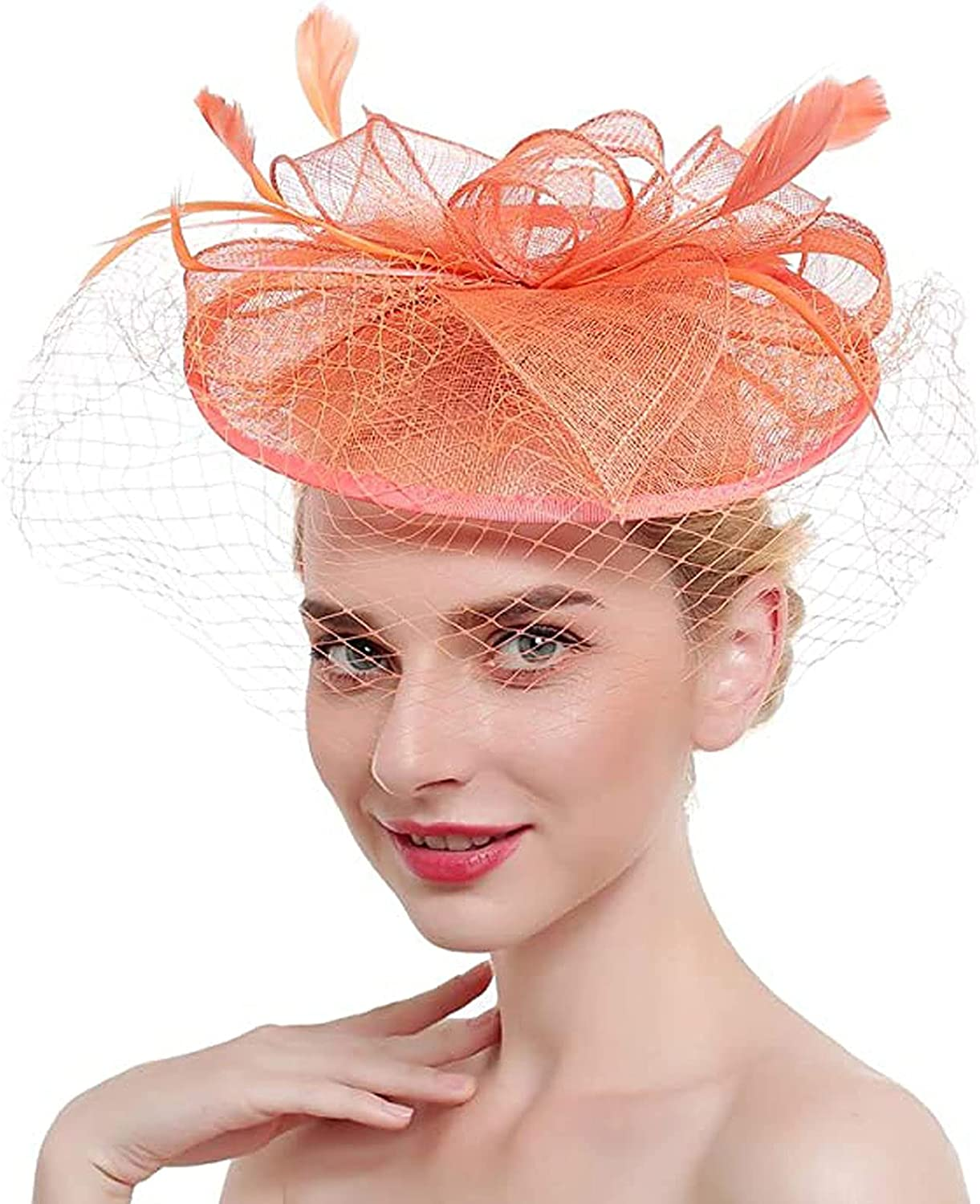 Fascinators Hats Cocktail Tea Party Feather Hair Clip Wedding hats with Veil for Women and Girls
