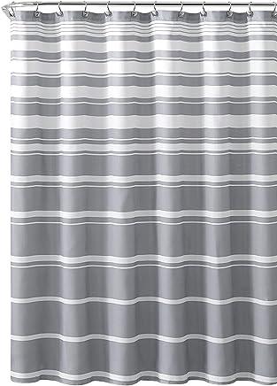 Hudson & Essex Grey White Faux Linen Fabric Shower Curtain: Variation Horizontal Stripe Design,  72 x 72 inches