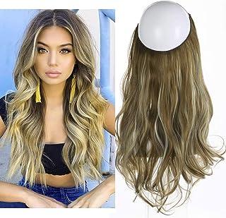 "SARLA Synthetic Wavy Halo Hair Extension Long Brown Blonde Balayage Natural Hairpieces No Clip No Glue No Tape 4.3oz 18"" M01&M6PH613"