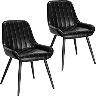 Lestarain 2X Sillas de Comedor Dining Chairs Sillas Tapizadas Paquete de 2 Sillas Cocina Nórdicas Cuero Sintético Sillas Bar Metal Silla de Oficina Negro
