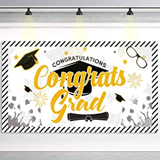 6.5 x 3.6 ft Large Sign Congrats Grad Banner - Black Perfect Graduation Party Decorations Backdrop