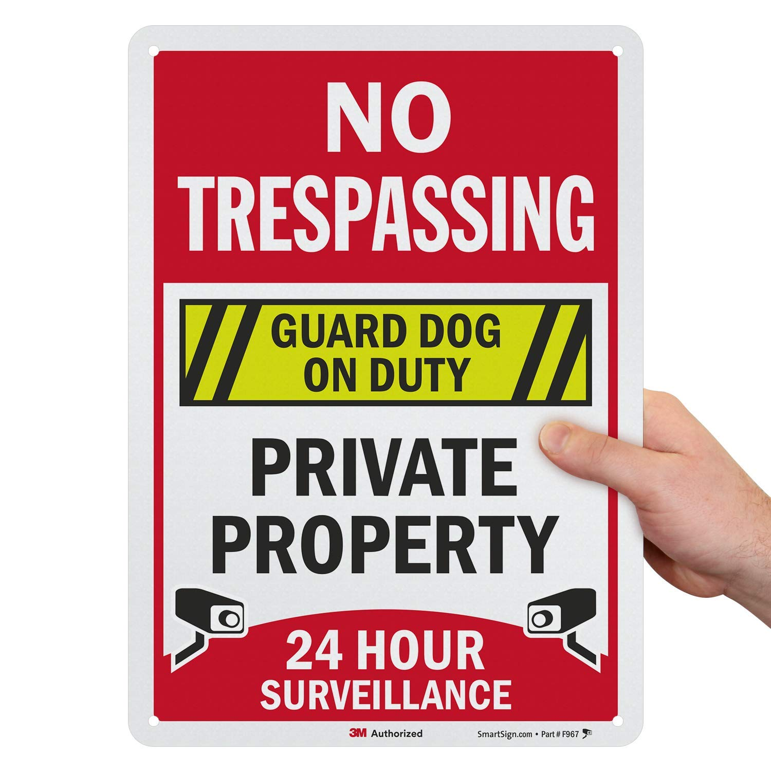 """SmartSign """"No Trespassing - Private Property, Guard Dog On Duty, 24 Hour Surveillance"""" Sign 