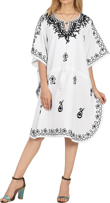 LA LEELA Women's Long Kaftan Casual Dress Night Gown Beach Cover Ups Embroidery