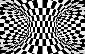 Optical Illusion 3D Home Carpets, Rectangular Living Room Rugs, Black and White Geometric Non-Slip Floor Mat,A,60x90cm