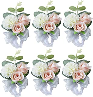 Pauwer Wrist Corsage Set of 6 Girl Bridal Bridesmaid Wrist Corsage Hand Flower Wedding Prom Party (A Corsage Set of 6)