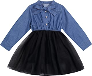 Toddler Infant Baby Girls Long Sleeve Jeans Blouse Top One-Piece Tutu Dress Winter Fall Clothes