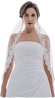 SAMKY 1T 1 Tier Floral Pattern Lace Edge Bridal Wedding Veil